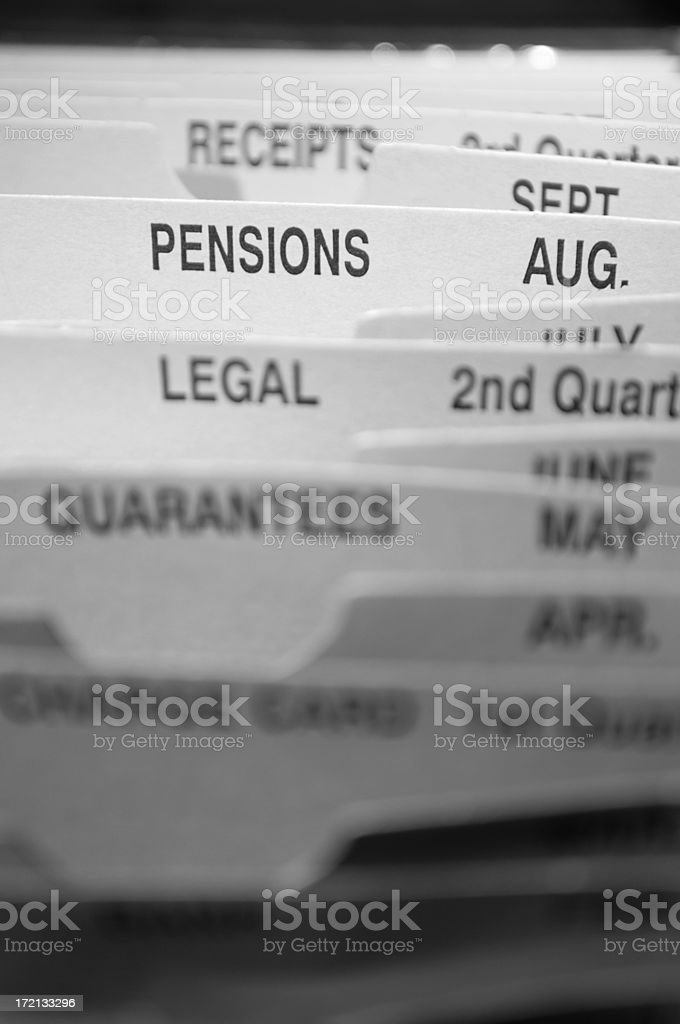 pensions file dividers stock photo