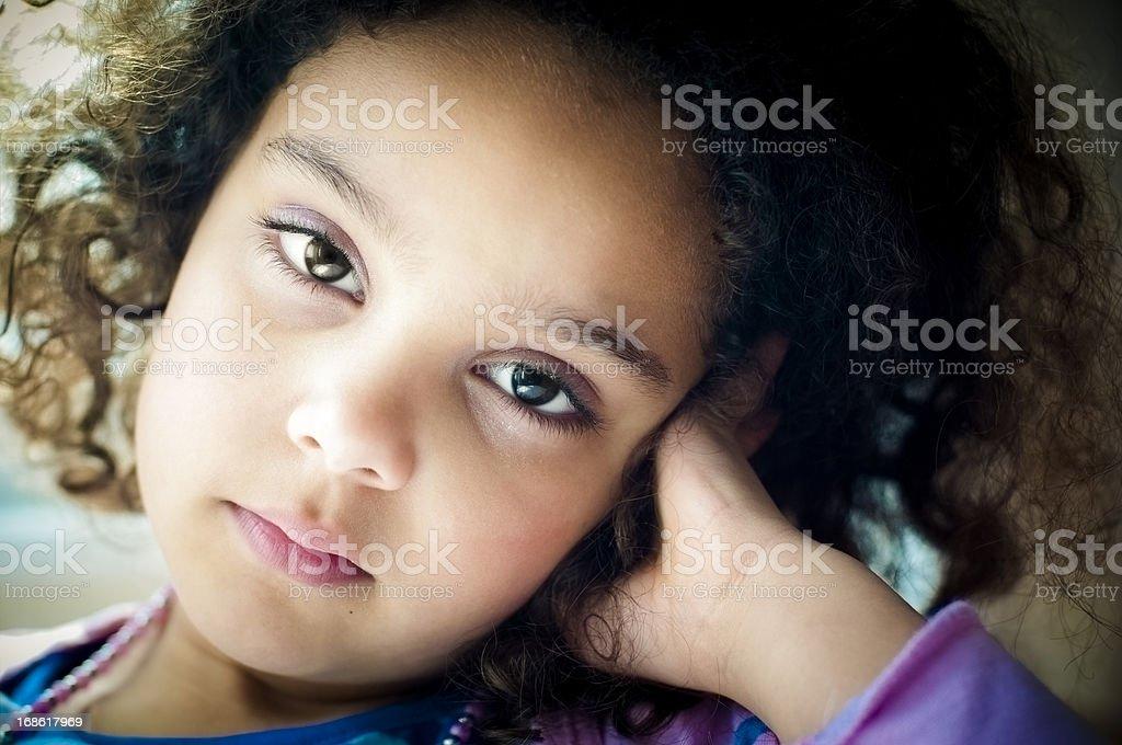 Pensive 6 Years old Little Girl stock photo