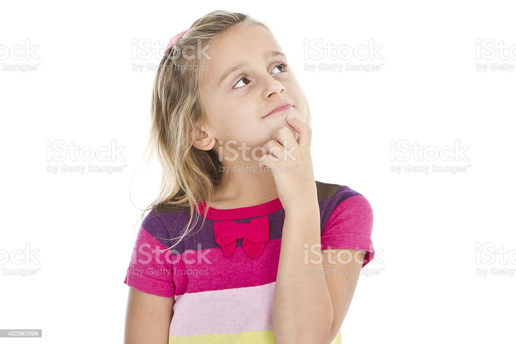 Pensive adorable little girl royalty-free stock photo