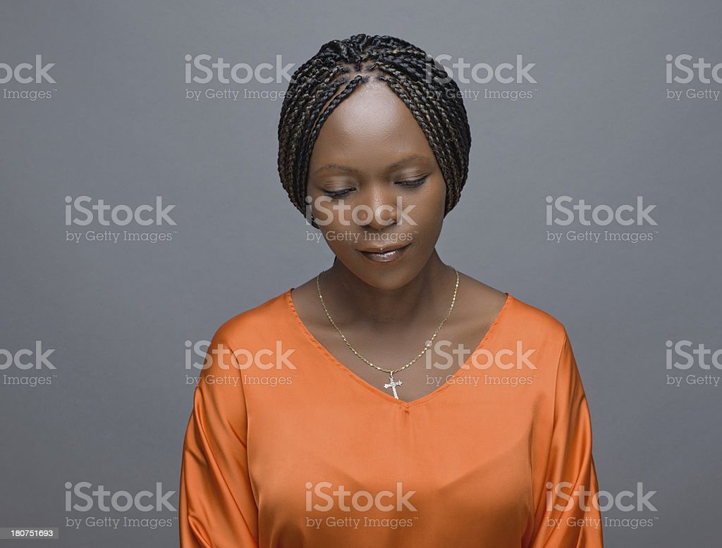 Pensive African Woman royalty-free stock photo