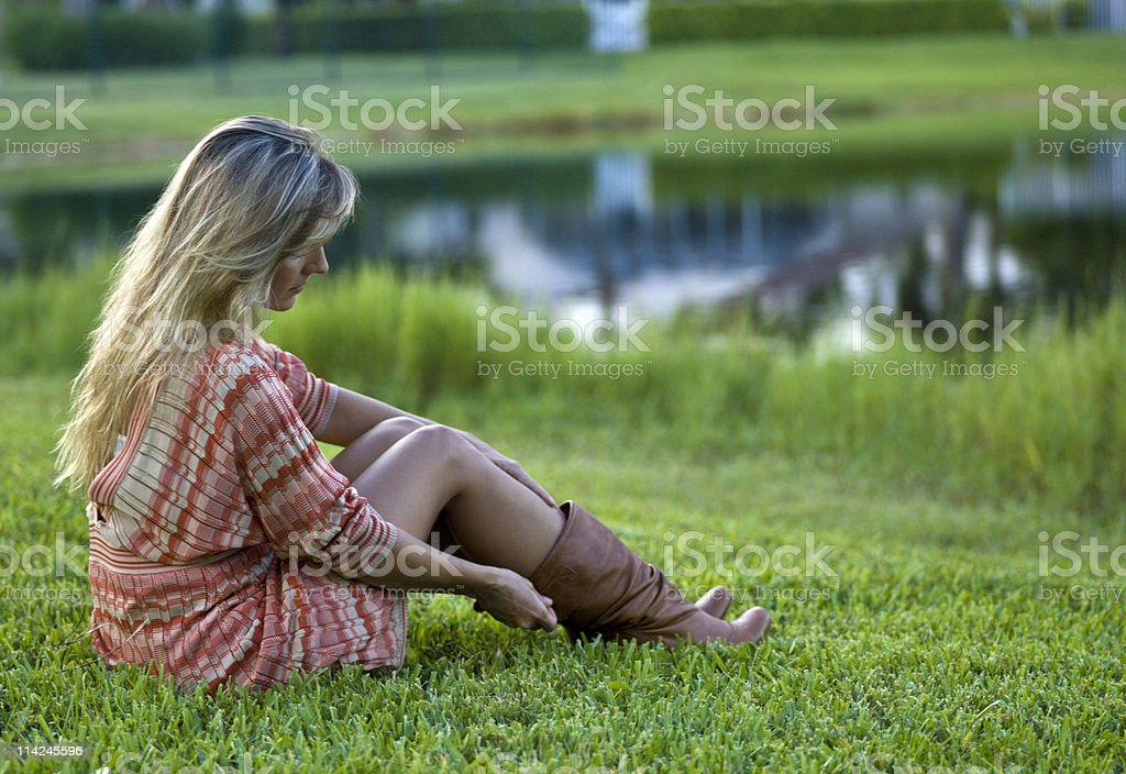 Pensive american housewife royalty-free stock photo