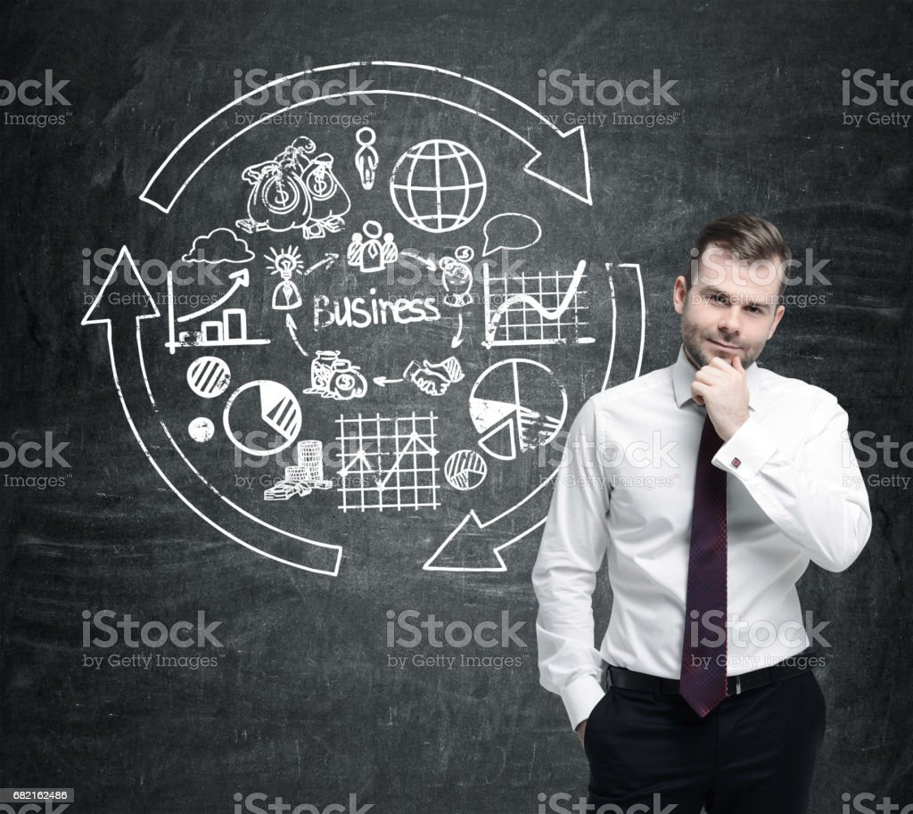 Pensive bearded man and round business sketch stock photo
