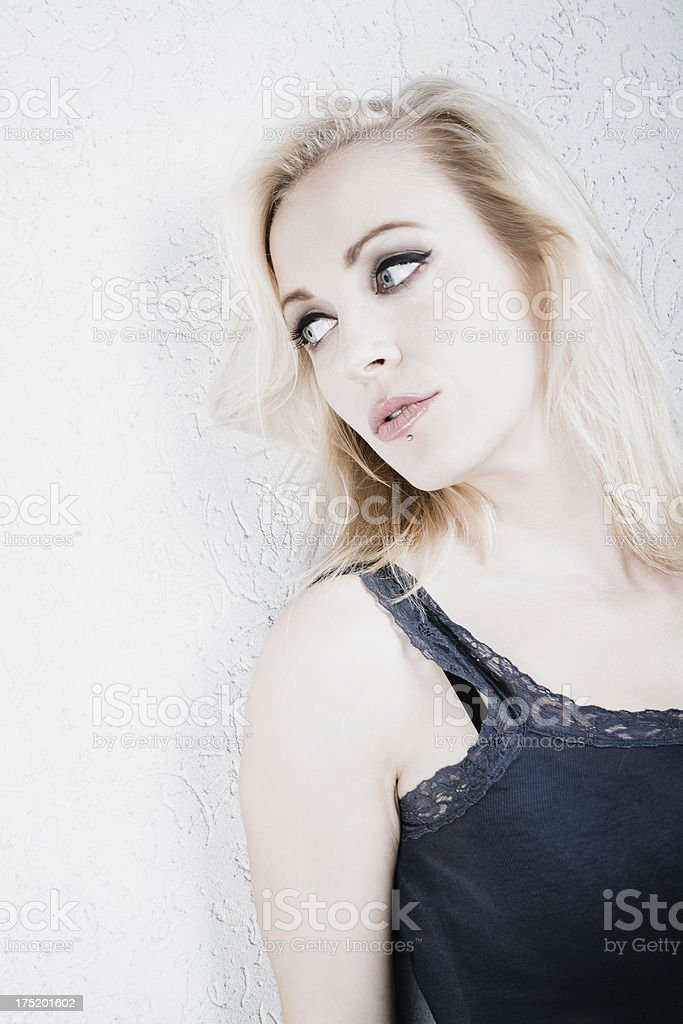 Pensive blond woman royalty-free stock photo