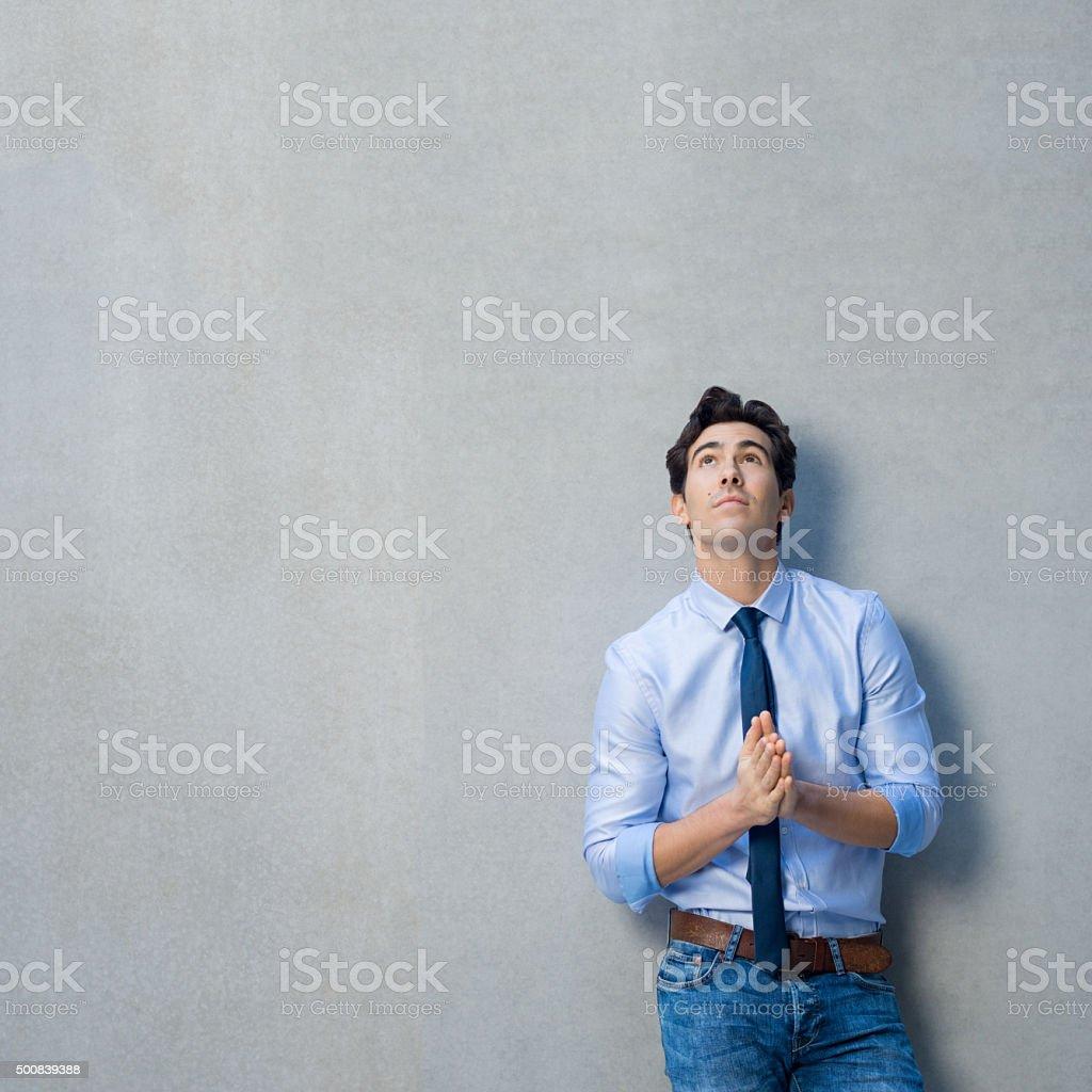 Pensive business man stock photo