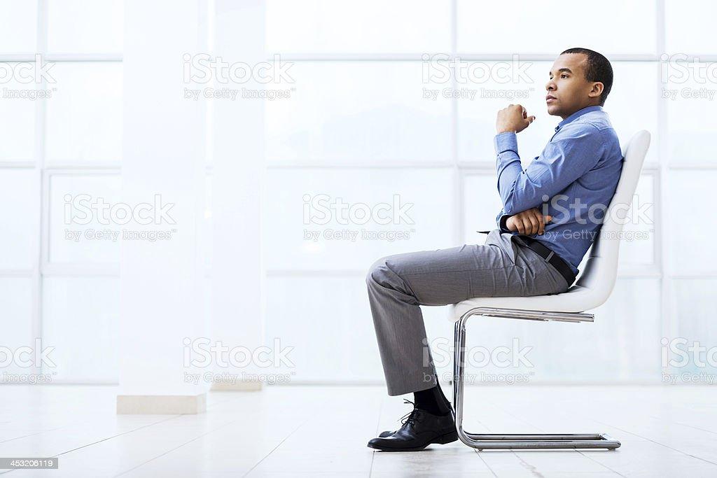 Pensive businessman. stock photo