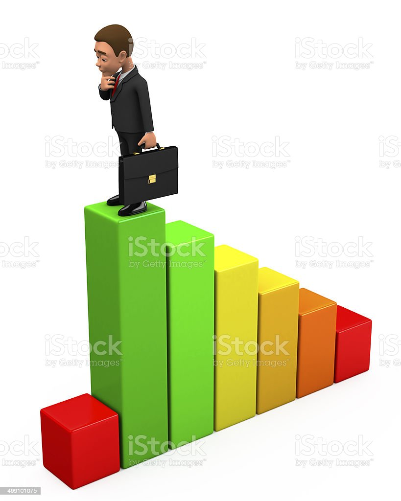 pensive businessman stands on graph stock photo