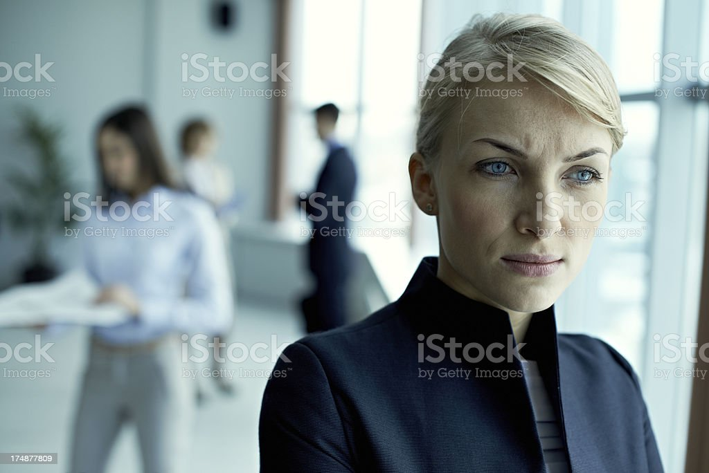 Pensive businesswoman royalty-free stock photo