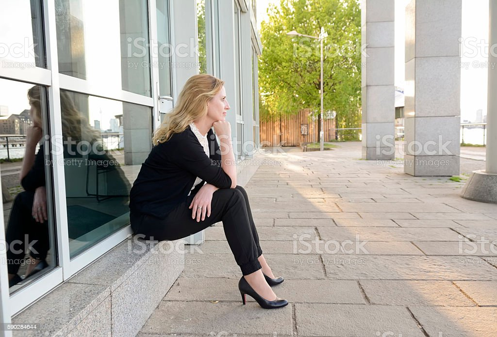 pensive businesswoman stock photo