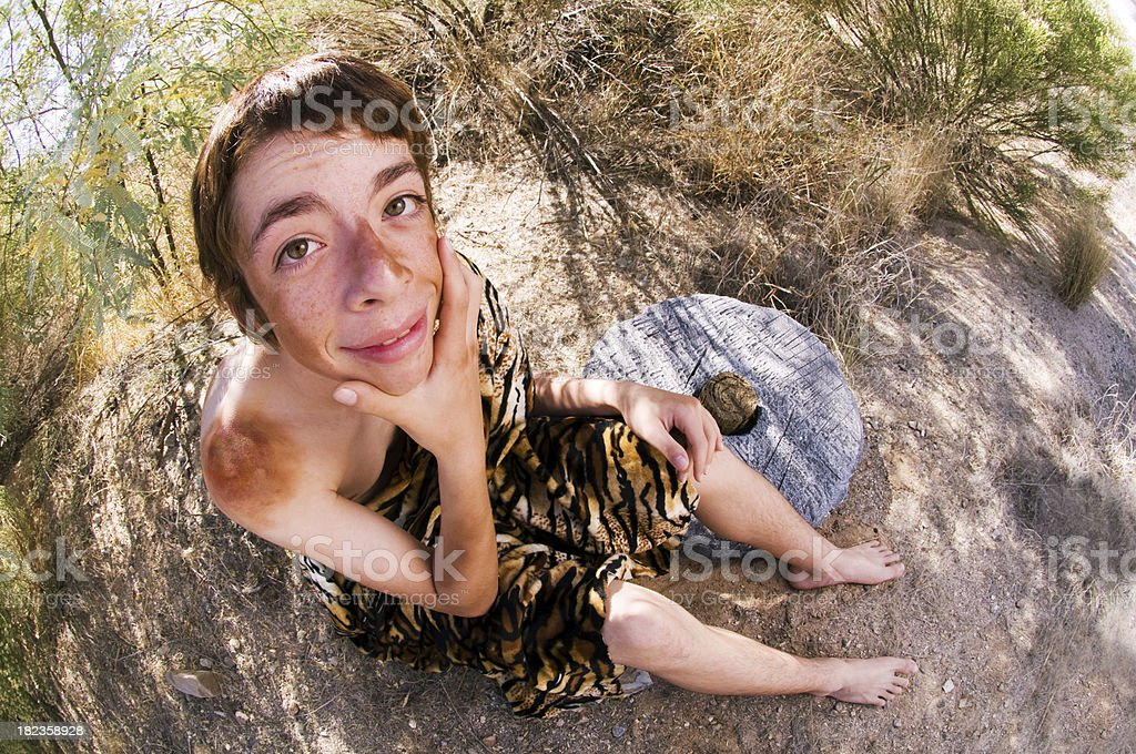 Pensive Caveboy stock photo