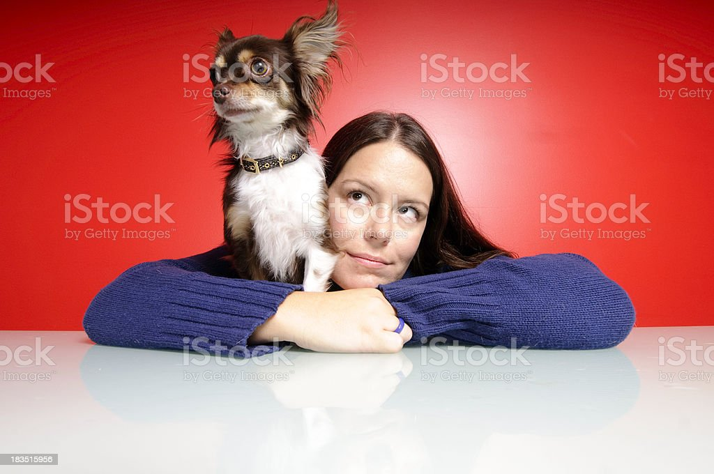 Pensive Chihuahua and Owner stock photo