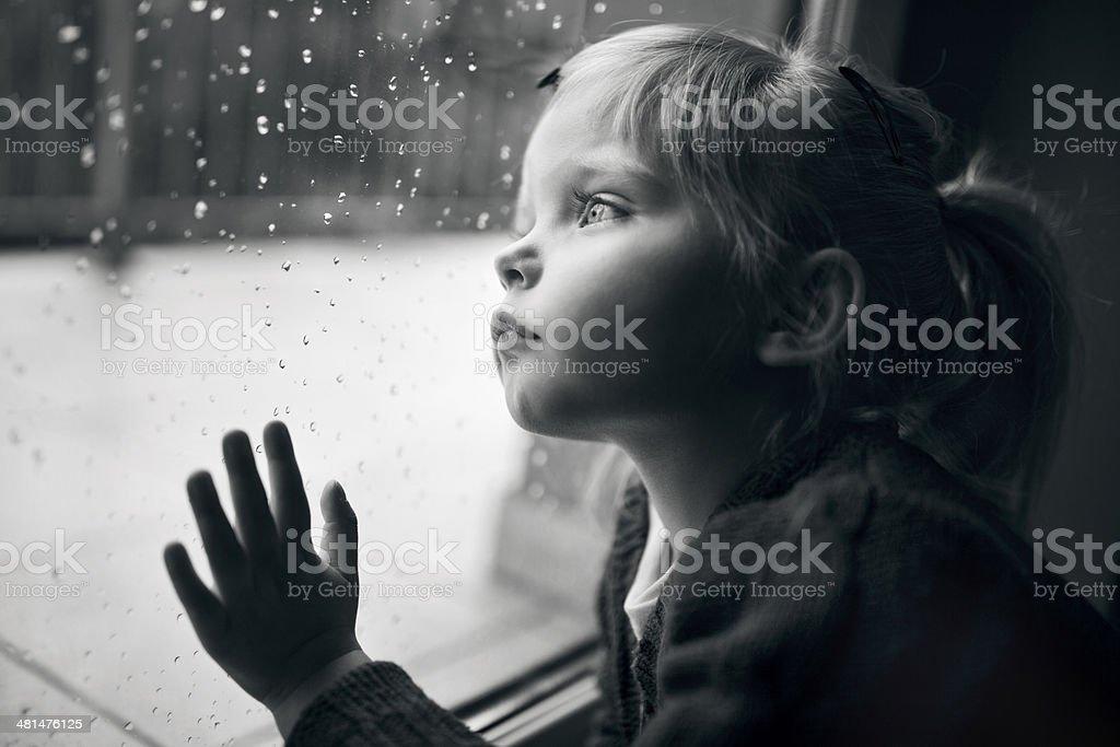 Pensive child stock photo