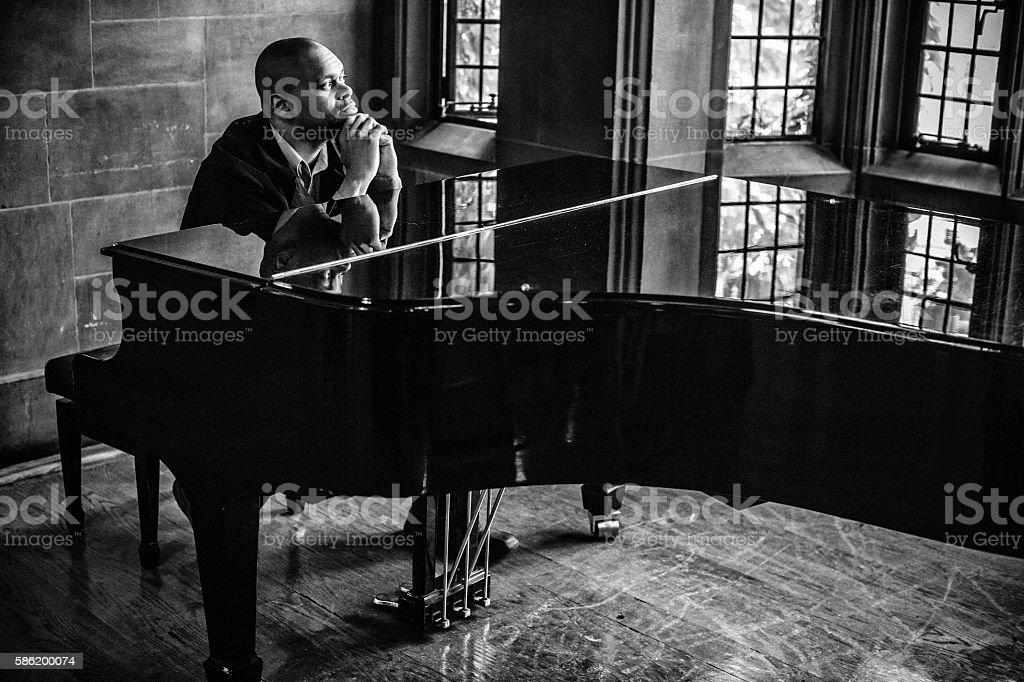 Pensive composer stock photo