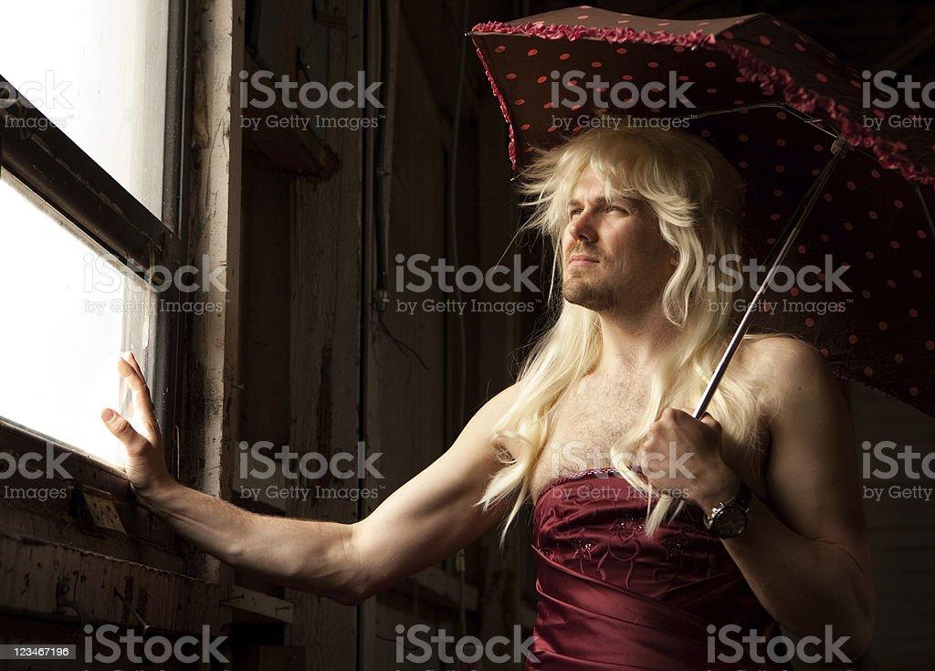 Pensive Drag Queen stock photo