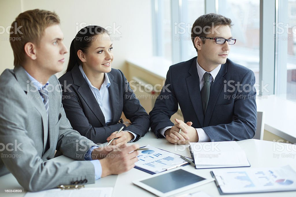 Pensive employees royalty-free stock photo
