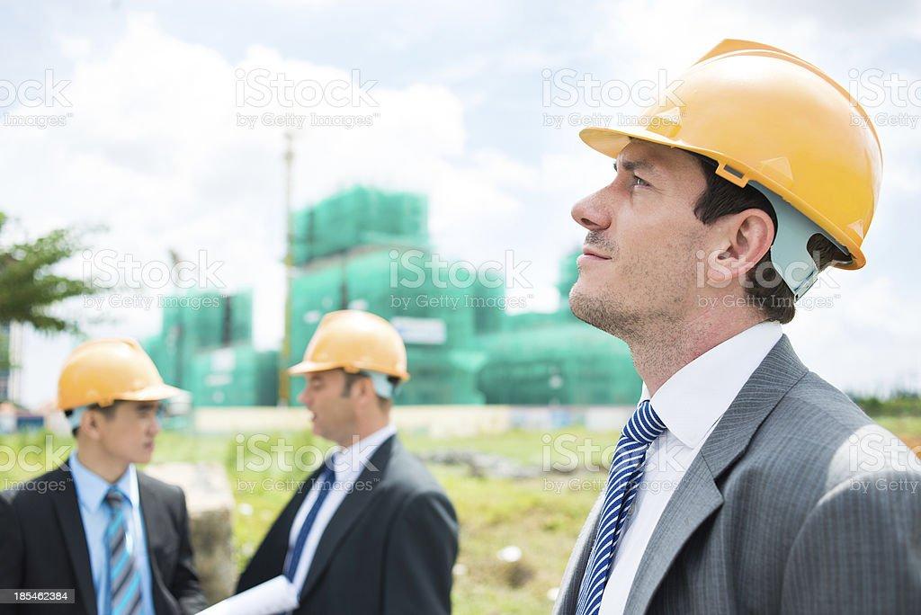 Pensive engineer royalty-free stock photo