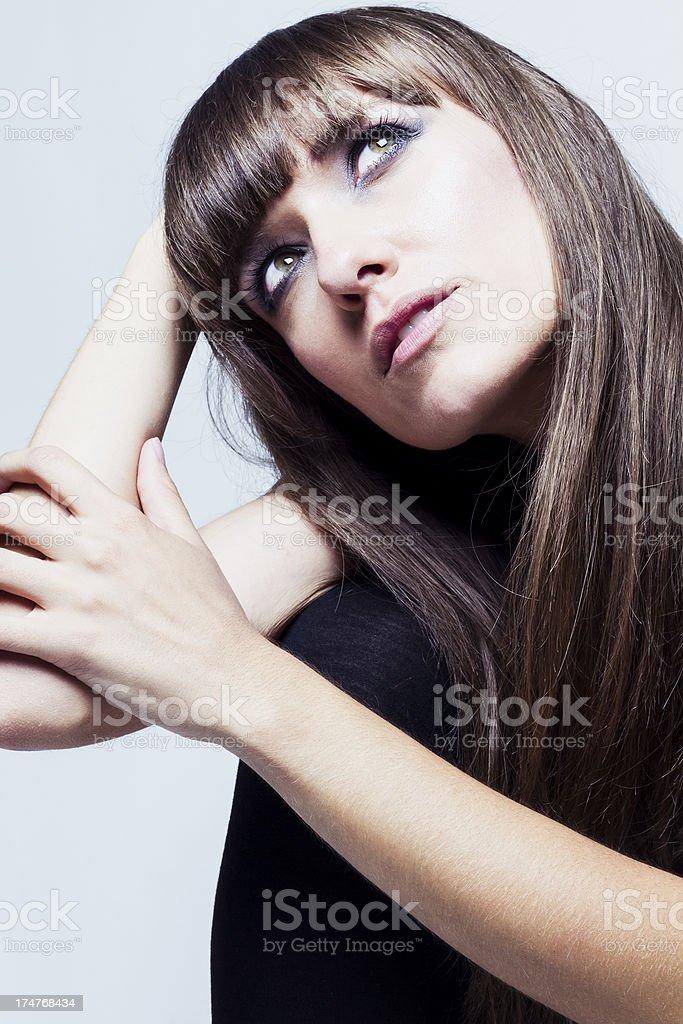 Pensive fashion model stock photo
