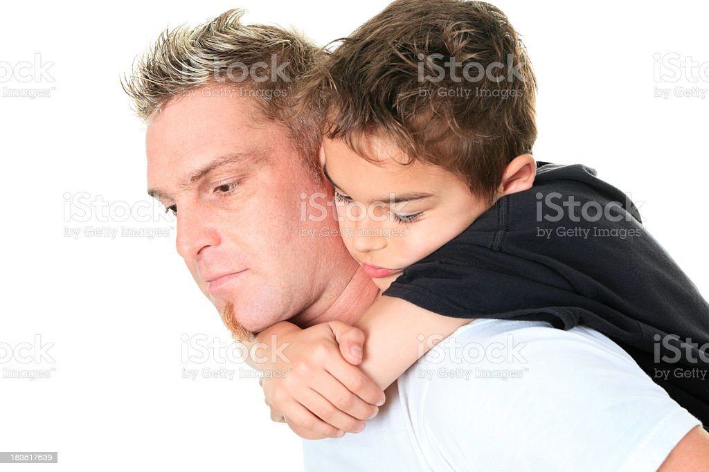 Pensive Father and Son stock photo