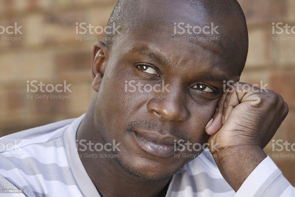Pensive handsome black man landscape royalty-free stock photo