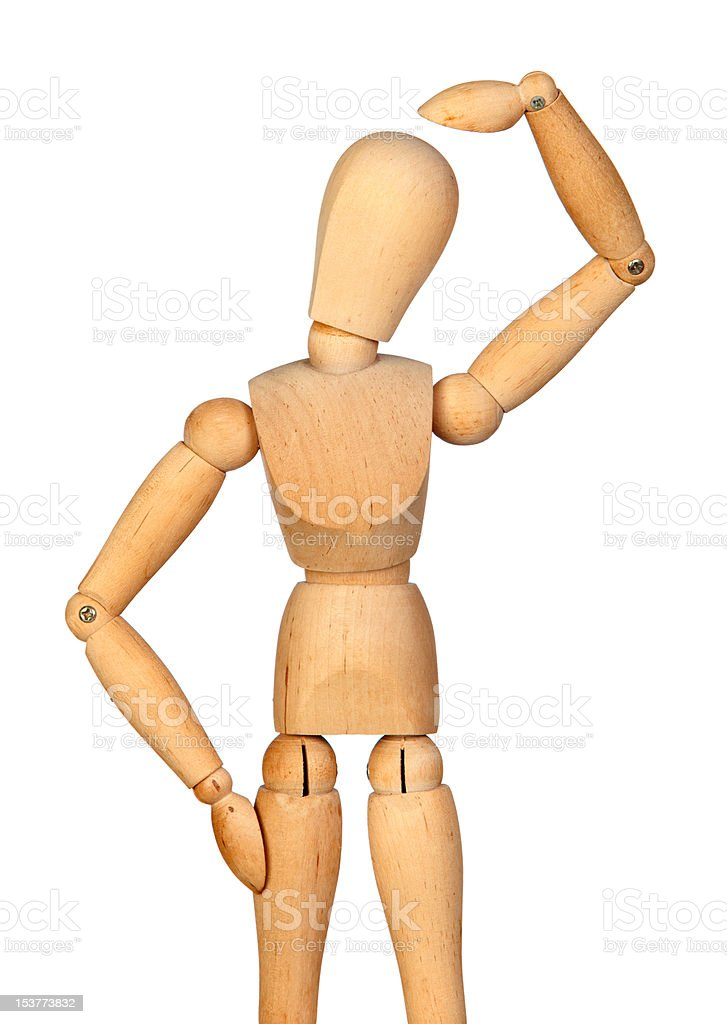 Pensive jointed wooden mannequin stock photo