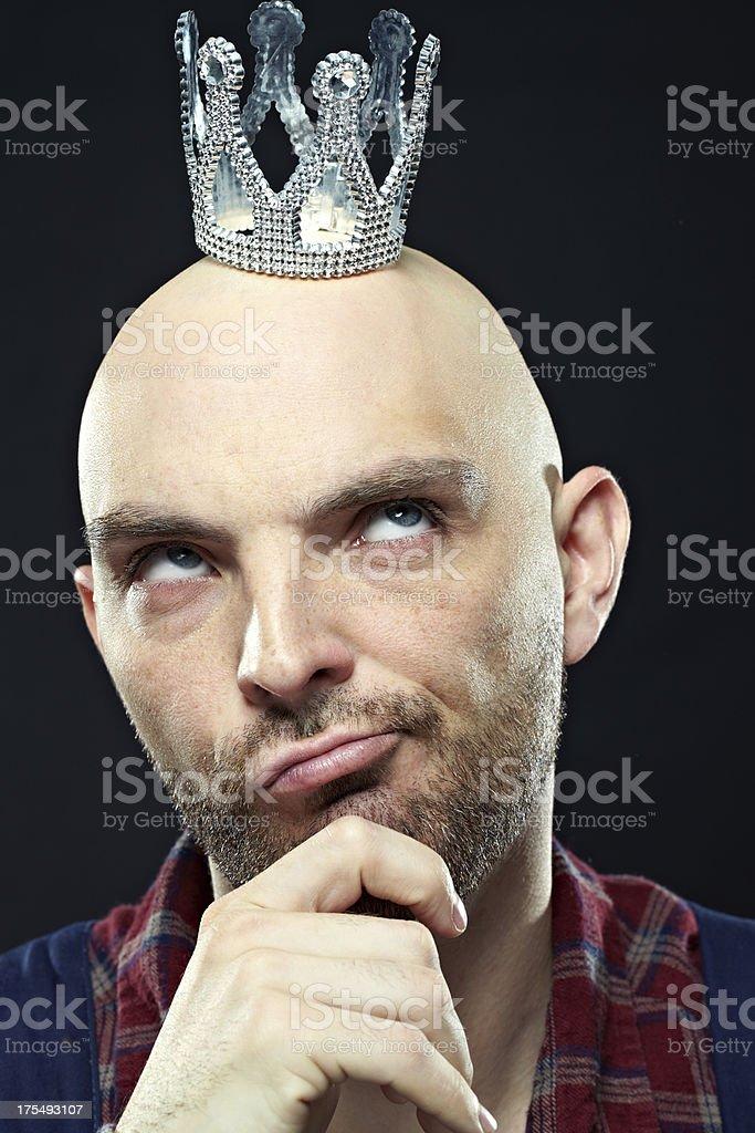 Pensive king stock photo