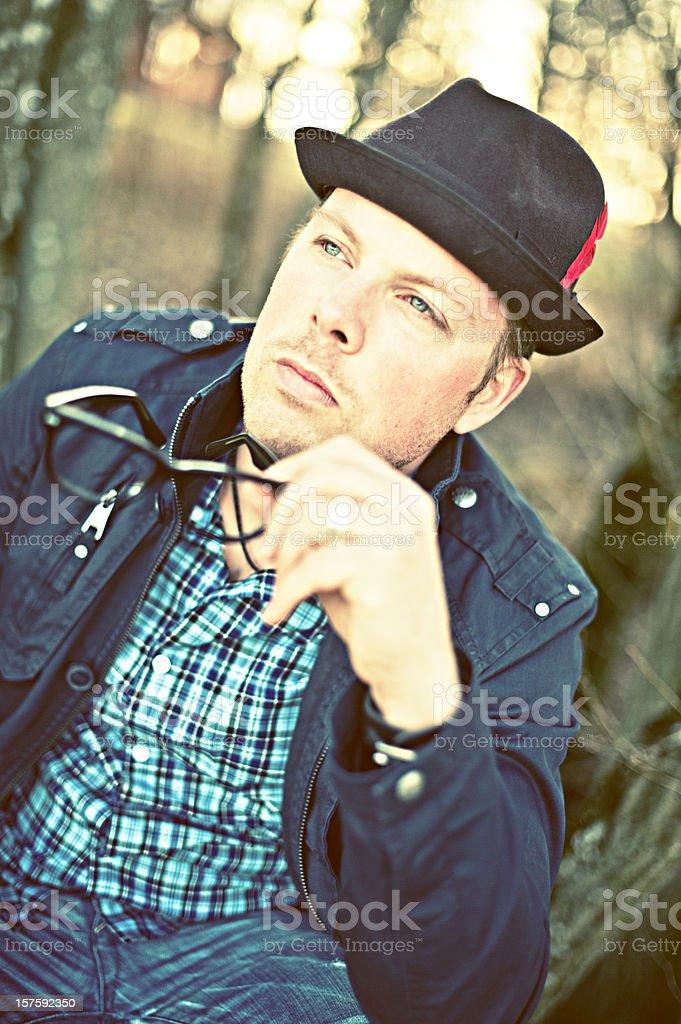 Pensive man at dusk royalty-free stock photo