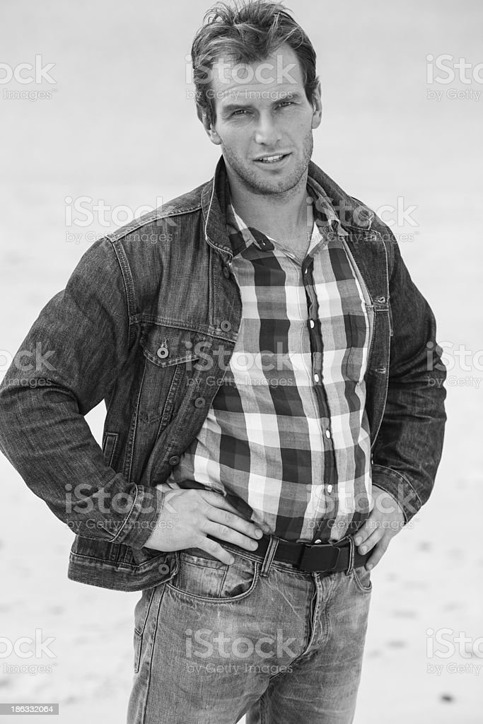 Pensive man in a denim jacket royalty-free stock photo