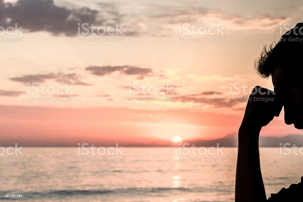 Pensive man stock photo