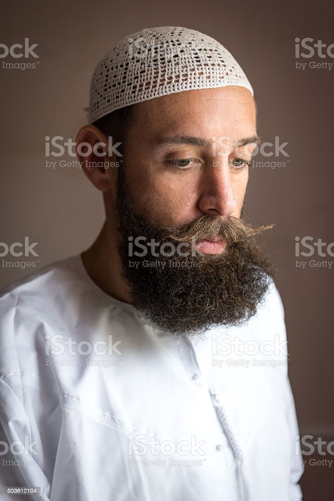 Pensive Middle Eastern Man stock photo