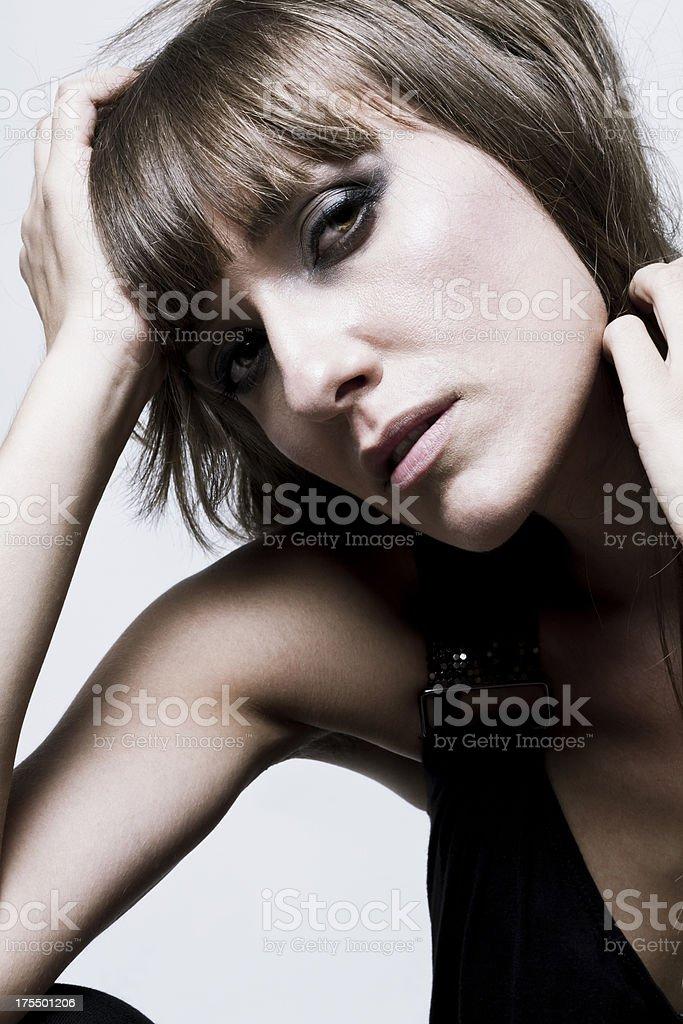 pensive model stock photo