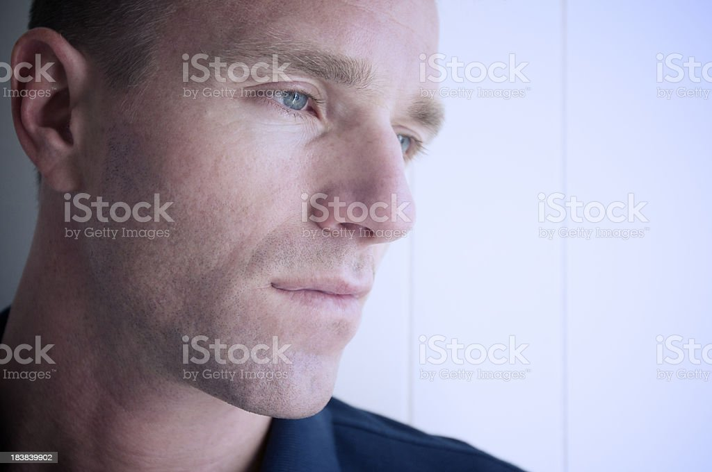 Pensive Sad Man with Expression of Depression Close-Up Portrait royalty-free stock photo
