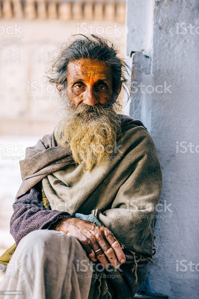 Pensive sadhu stock photo
