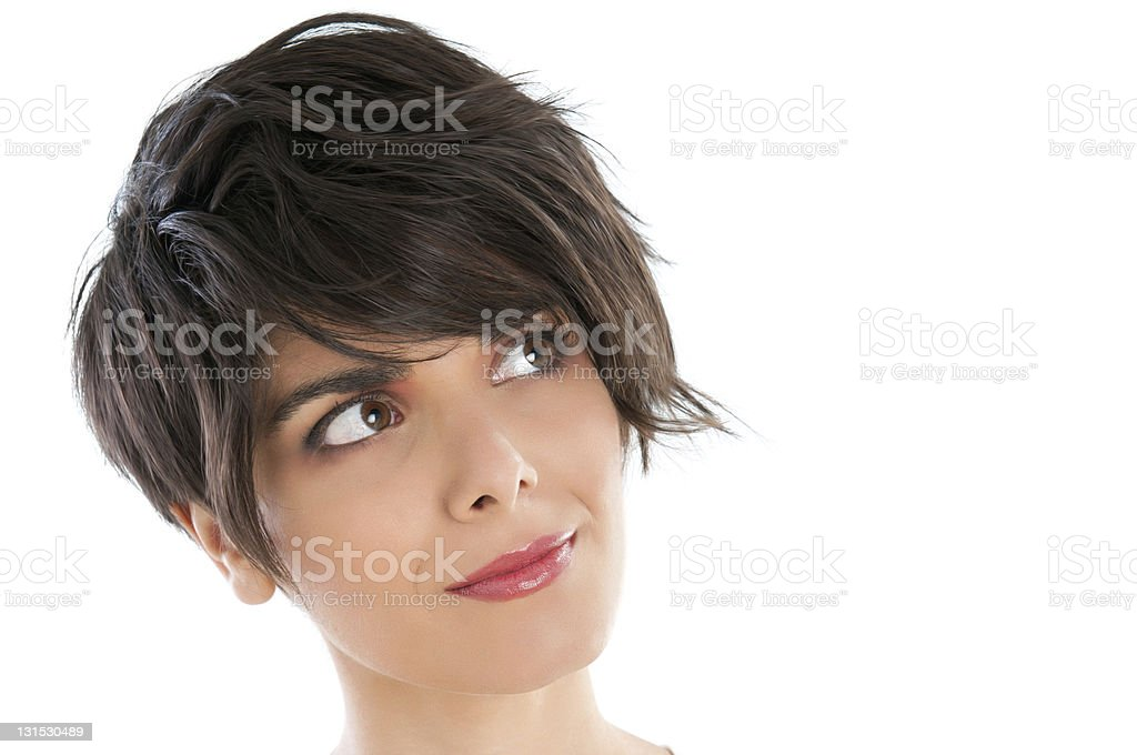 Pensive satisfied young woman stock photo