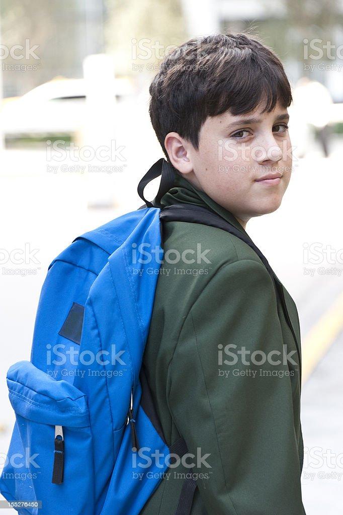 Pensive school boy royalty-free stock photo