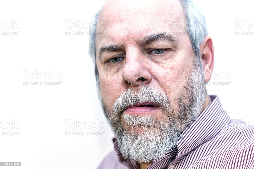 Pensive Striped Shirt Business Man Senior Adult stock photo