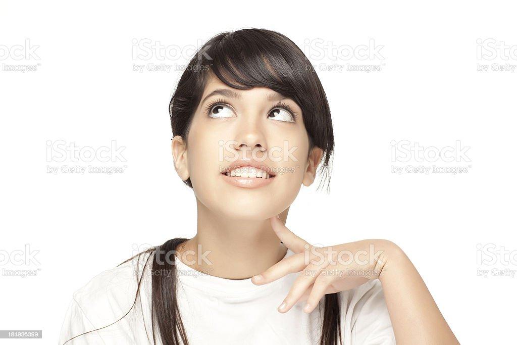 Pensive teenage girl. stock photo
