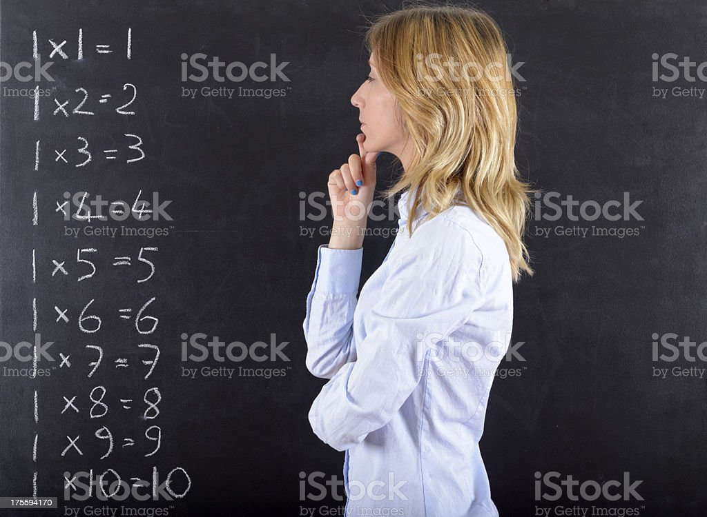 Pensive Woman and Calculus royalty-free stock photo
