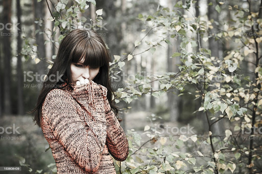 pensive woman royalty-free stock photo