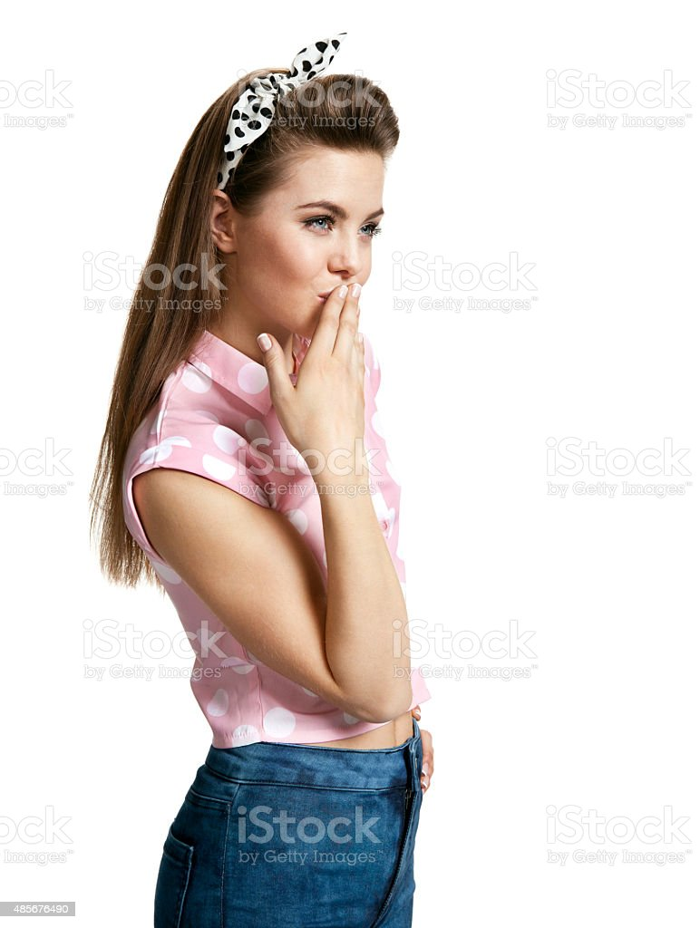 Pensive woman touching her face stock photo