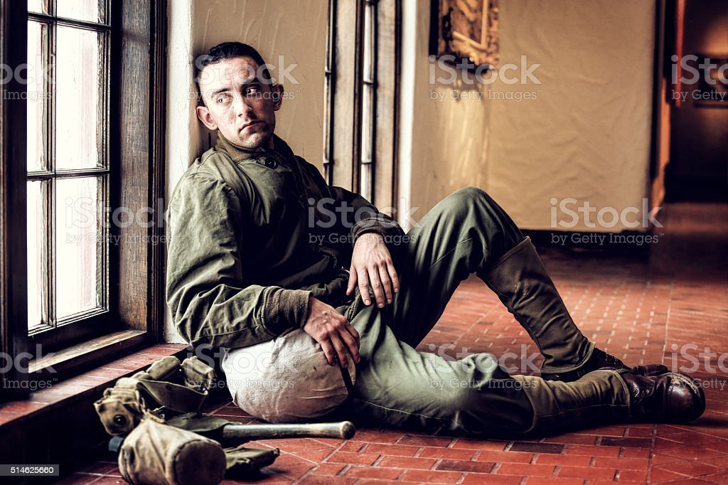 Pensive WWII Soldier stock photo