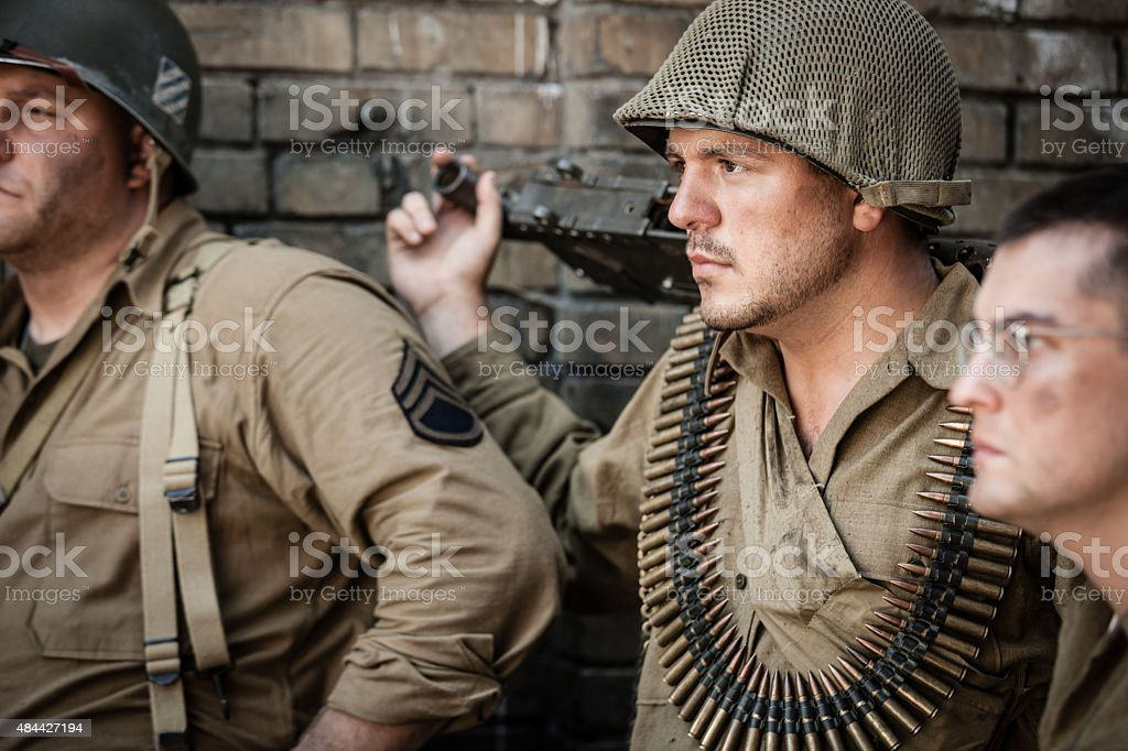 Pensive WWII Soldiers stock photo