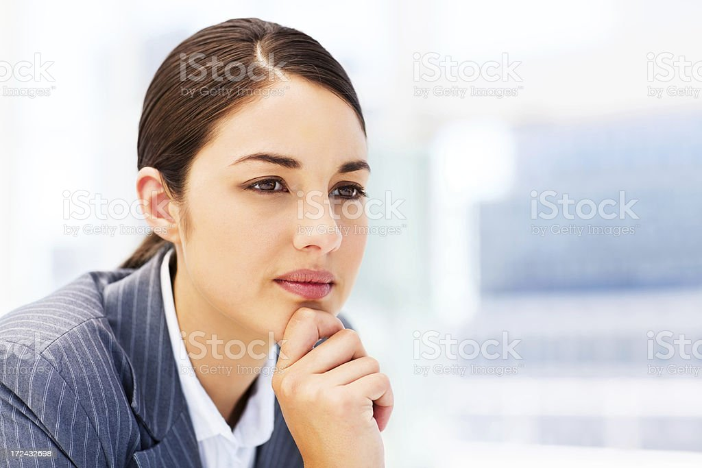 Pensive Young Businesswoman royalty-free stock photo