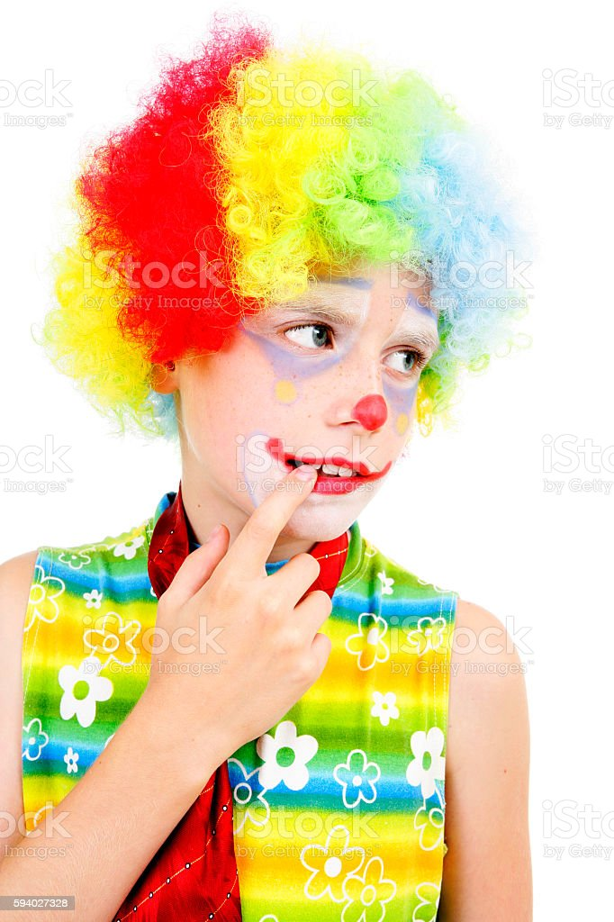 Pensive young clown stock photo