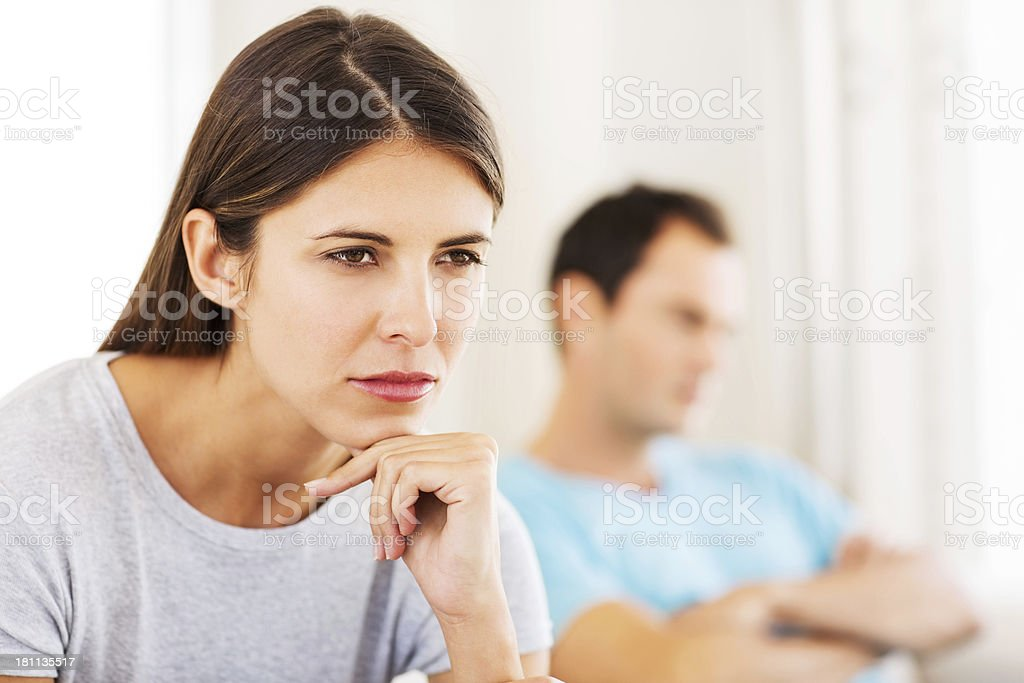 Pensive Young Woman Looking Away royalty-free stock photo