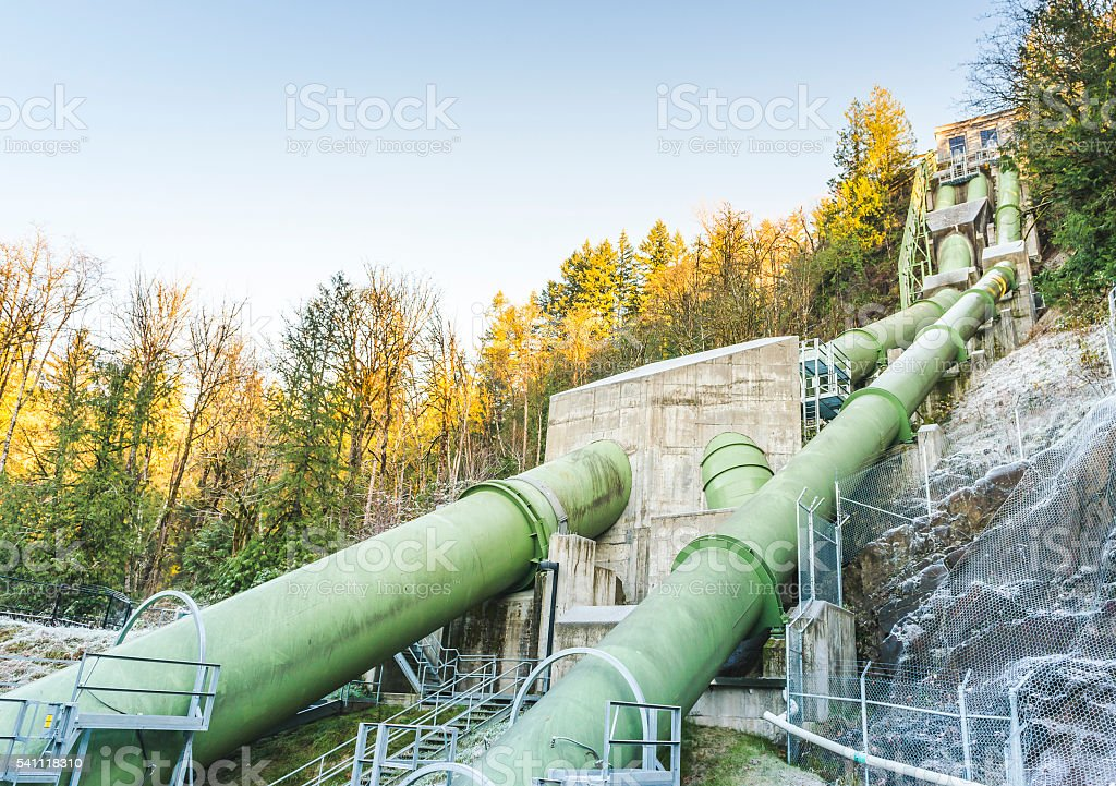penstock for transfer a lot of water for generate electric. stock photo