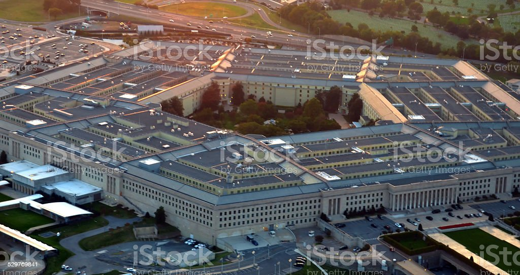 US Pentagon at sunset stock photo