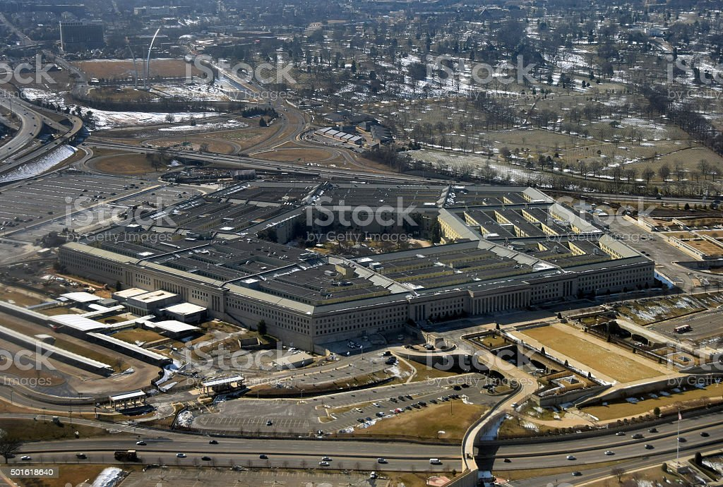 US Pentagon seen from above stock photo