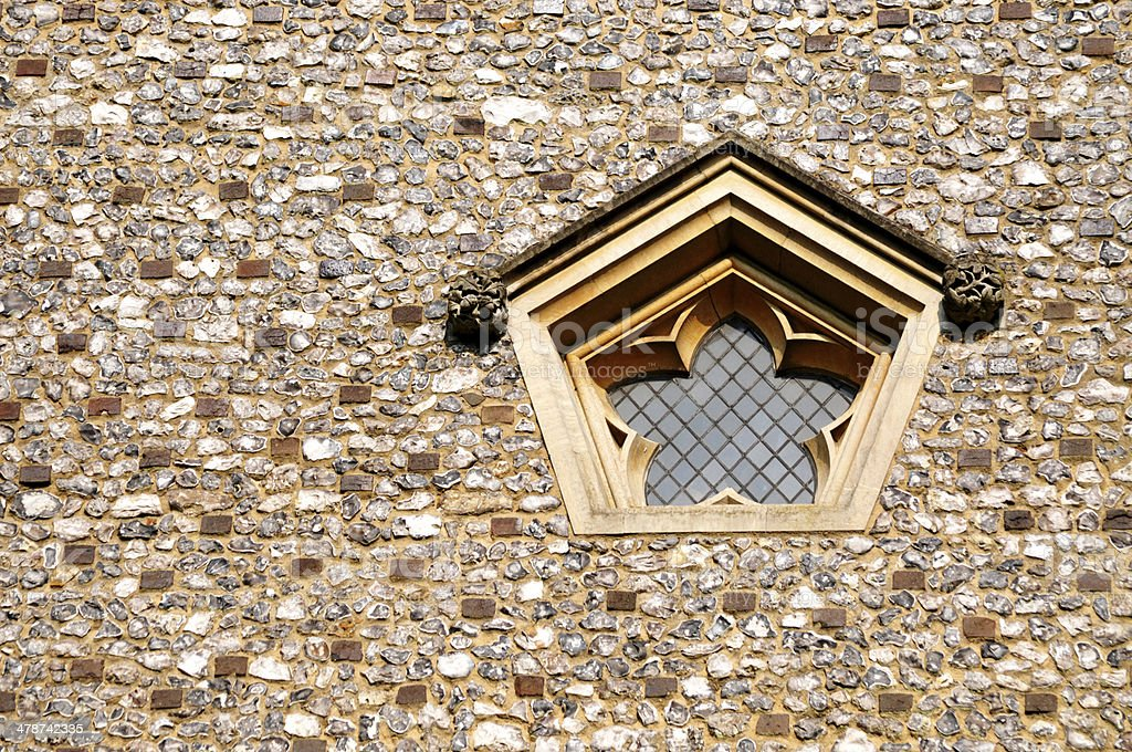 Pentagon Shaped Ancient Church Window stock photo