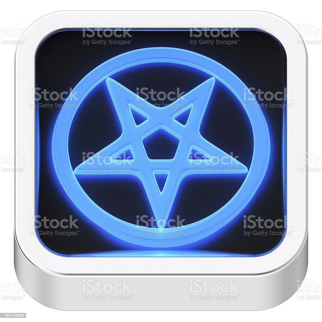 Pentagram luminous icon stock photo