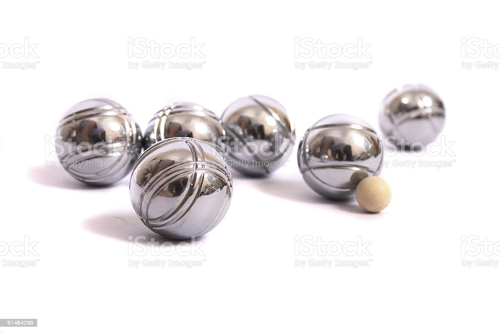 Pentanque balls on solid white background stock photo