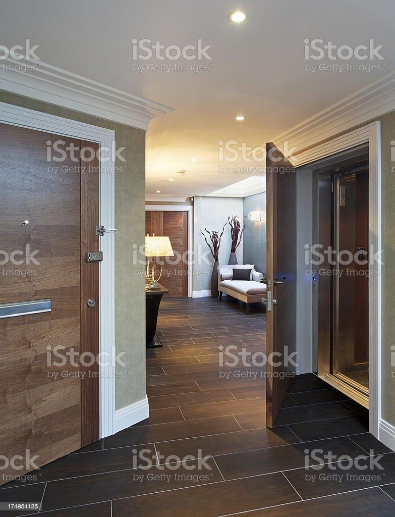 penthouse apartment entrance hall stock photo